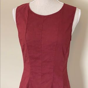 Theory Linen Sleeveless Dress, Maroon